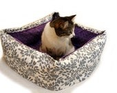 Silver Leaf Pet Bed CUSTOM 16 In Square Medium 37 Color Choice Slip-proof Base Dog Cat Couture Artistic Travel Collapsible Washable