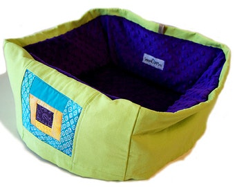Quilt Block Pet Bed Purple & Lime Small 12 Inch Square Slip-proof Base Dog Cat Couture Artistic Travel Collapsible Washable Drawstring Bag
