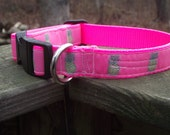 Pink Pineapple Adjustable Dog Collar or Martingale
