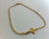 Gold Sideways Cross Bracelet, Gold Cross Bracelet, Gold Cross