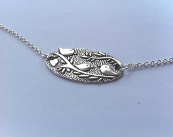 Silver Bird on Branches Charm Necklace