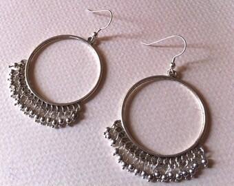 Silver Beaded Dangly Hoop Earrings, Silver Hoops, Beaded Hoops