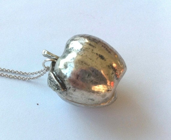 Large Silver Apple Charm Necklace