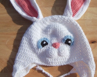 Crochet Hat, Easter Bunny Earflap Hat, Made to Order