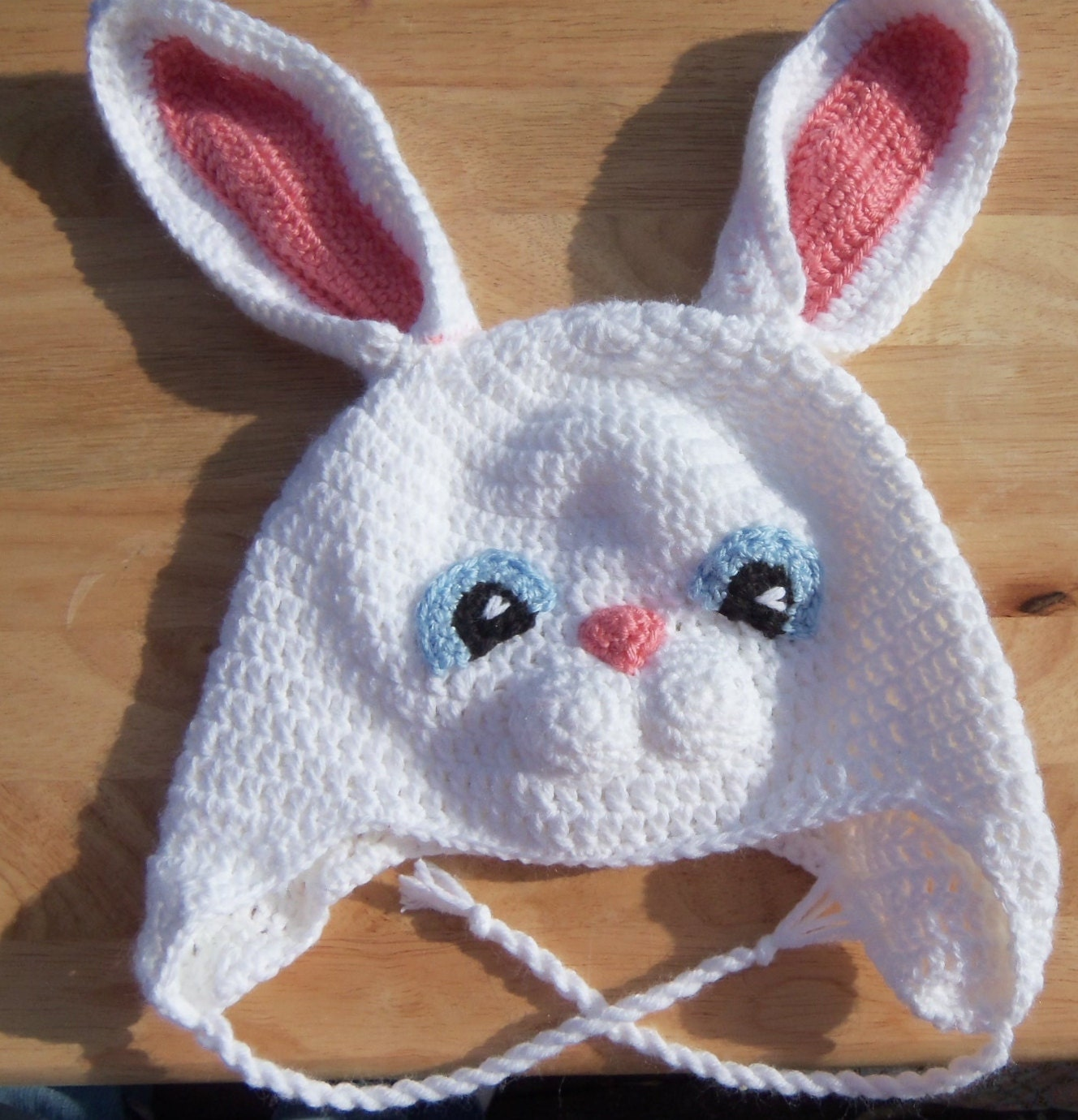 Crochet Bunny Hat With Flower Pattern : Easter Bunny Earflap Hat PATTERN