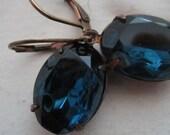 Vintage Montana Sapphire Oval Earrings. Deep Ocean Blue. European Ear Wires. Aged Brass Setting.