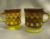 Vintage Mid Century Fire King Kimberly Mugs Yellow Brown Pair