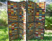 Upcycled Antique Typeset Drawers Folding Screen