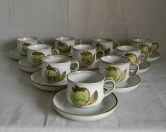 Vintage Denby Cups & Saucers 10 sets Troubadour Pattern England Serving Dinnerware Tableware