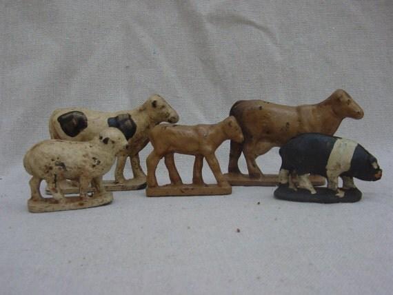 Antique Vintage Farm Barnyard Animals Children's Toys