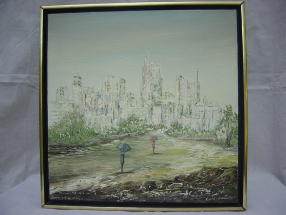 Reserved for Stephanie Vintage Mid Century Original Oil on Canvas Evelyn Schmedt Painting Cityscape