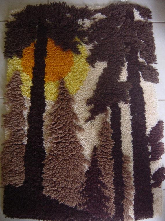 Vintage Mid Century Rya Wool Wallhanging Forest Sunrise Brown Orange