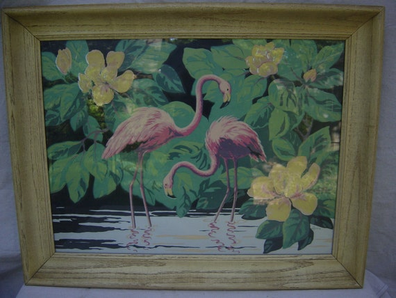 Items Similar To Vintage Art Silk Screen Flamingo 1940 39 S