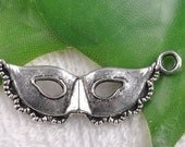 4 Party Mask Charms BC502 Antique Tibetan Silver