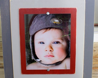 Painted Distressed Grey with Dark Red Mat 8 x 10 Wall Picture Frame