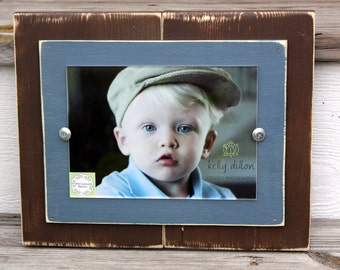 Distressed Picture Frame Single Chocolate Brown & Smokey Blue 5x7 Frame