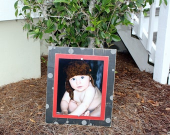 Distressed 11x14 Frame, Black & Red Polka Dot Frame Rustic Picture Frames