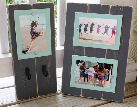 Dark Grey & Aqua Blue 4 x 6 Distressed Wood Frame with Key Hooks