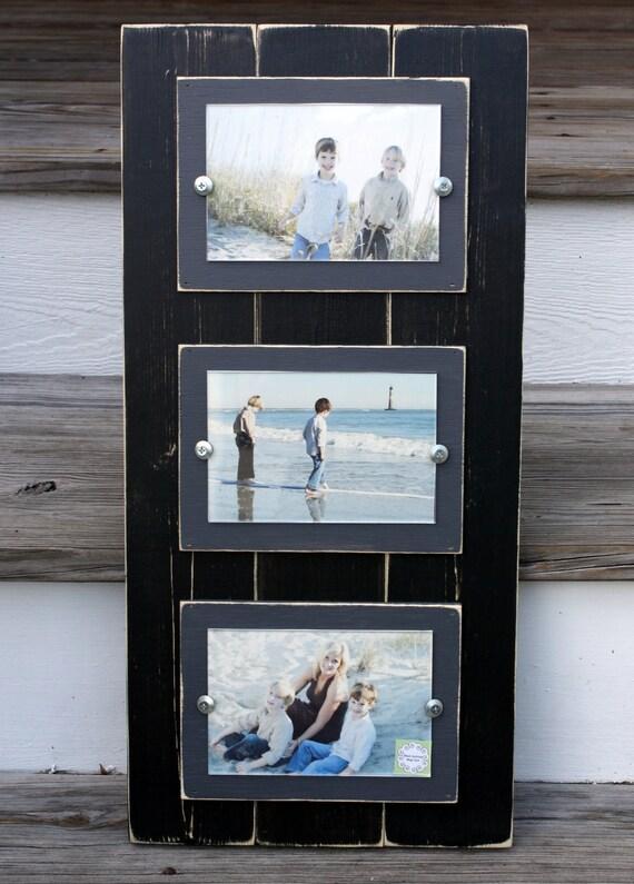 Triple 4 x 6 Frame Black & Grey Wood Distressed Coastal Cottage Picture Frame