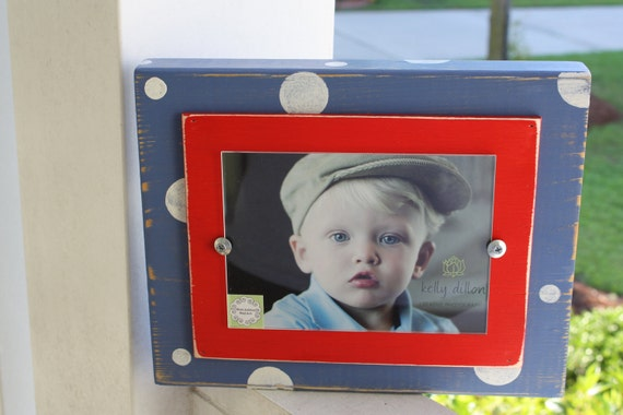 Chunky Red, White & Blue Polka Dot Distressed 5 x 7 Painted Wood Frame Patriotic