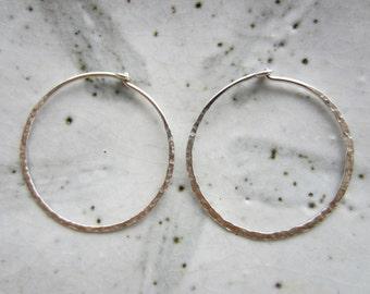 1 Pair Hammered Sterling Silver Hoop Earrings--30 mm