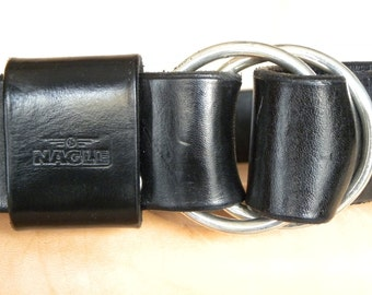 Sterling silver double ring belt Buckle  hand dyed leather belt
