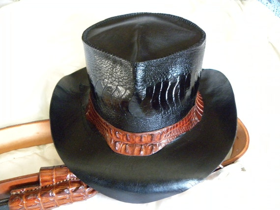 Ostrich Leg outback hat with Croc Hat Band
