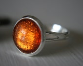 Girl On Fire 12mm adjustable silver or bronze glitter ring