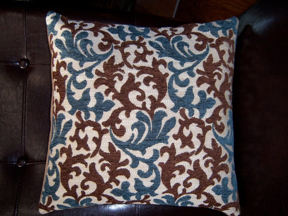 Throw Pillow cover in blue and brown chenille