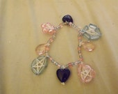Pink And Blue Pentacle Charm Bracelet