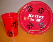 LADY BUG BIRTHDAY party plates and cups (package set of 24)