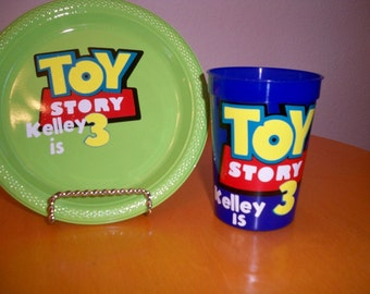 TOY STORY BIRTHDAY party favor cups and plate package (set of 24 cups 24 plates)