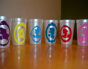DISNEY PRINCESS BIRTHDAY party favor cups (set of 5 cups)