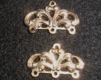 "3 pairs (6) Beautiful, vintage,  golden ""crown""  end bar"