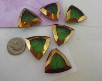 Large Glass  Emerald and Gold  Triangular pendant/ Bead
