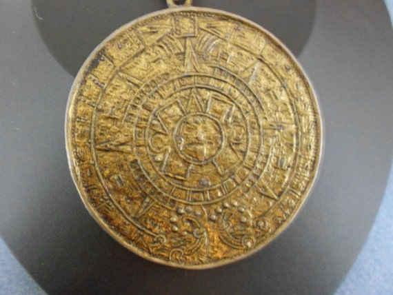Vintage AztecTwo Sided Calendar  Pendant on Vintage Brass Chain