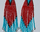 Stunning Bright Traditional Native style Turquoise/Red delica seed 4 inch beaded earrings