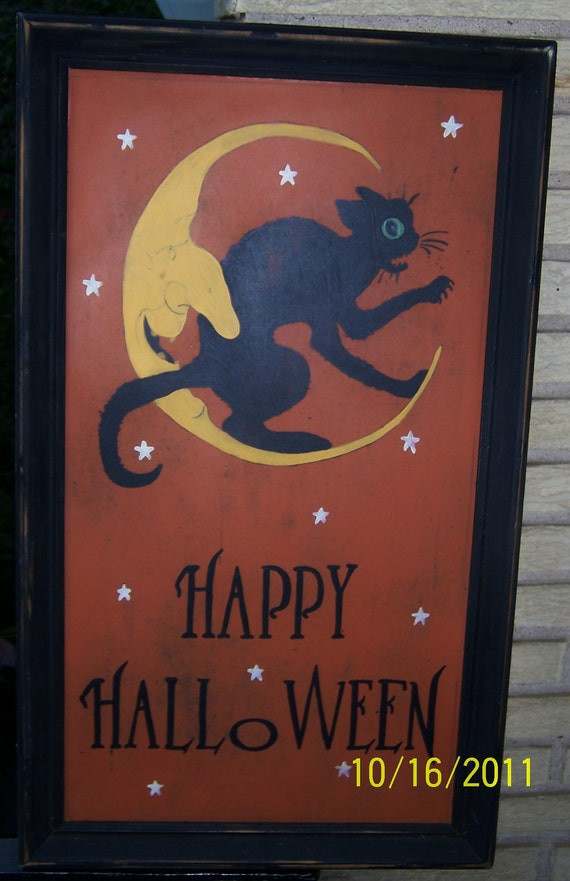 Happy Halloween sign/vintage style sign/hand
