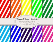 Diagonal Stripe - 10 Digital Paper Set in Bright Rainbow Colors - 12 x 12 at 300 dpi - Personal & Small Commercial Use
