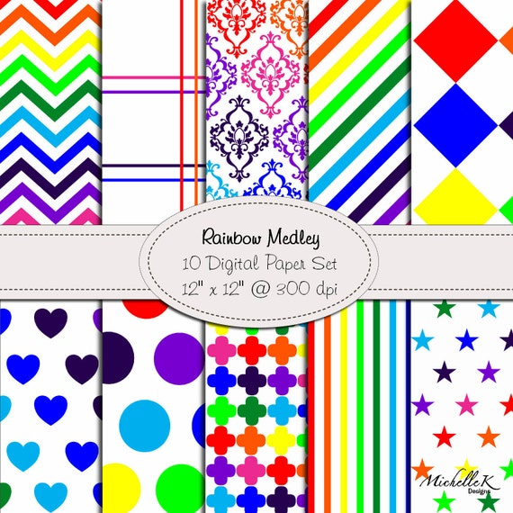 Rainbow Medley - 10 Digital Paper Set in Bright Rainbow Colors - 12 x 12 at 300 dpi - Personal & Small Commercial Use
