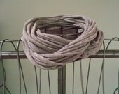Upcycled dark grey t-shirt infinity scarf with black accent