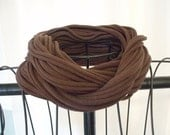 Upcycled brown t-shirt scarf with black accent