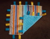 Minky lovey turquoise lines tag blanket
