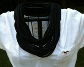 Upcycled BLACK t-shirt infinity scarf
