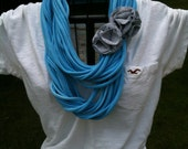 Upcycled LIGHT BLUE t-shirt infinity scarf with grey flower pins