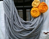 Upcycled GREY t-shirt infinity scarf with a yellow rolled rosette pin