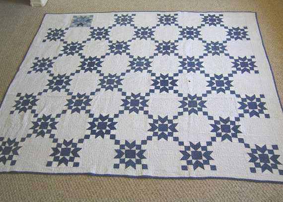 Antique  Blue and White Star Quilt - Handstitched