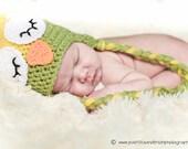 Newborn Sleepy Owl Green And Yellow Earflap Boys or Girls Crochet Hat Photo Prop