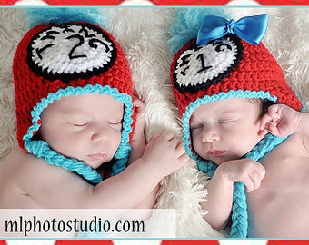 Newborn Thing 1 OR Thing 2  Dr Seuss Hat Boy or Girl Red and Blue Crochet Hat Photo Prop