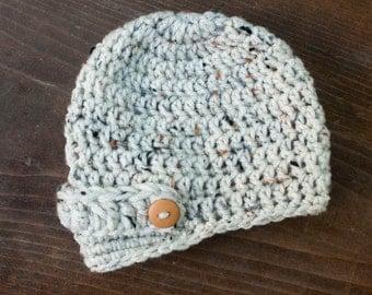 Newborn Oatmeal Tweed Newsboy Crochet Hat Boys Photo Prop 0-12 Months